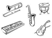 Instrumentos musicales fijados Foto de archivo