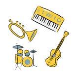 Instrumentos musicales fijados Fotos de archivo libres de regalías