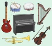 Instrumentos musicales fijados Imagenes de archivo
