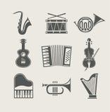 Instrumentos musicales fijados de iconos Foto de archivo libre de regalías