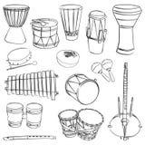 Instrumentos musicales tradicionales africanos Fotos de archivo libres de regalías