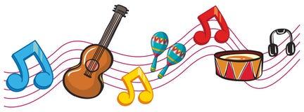Instrumentos musicales y notas de la música en fondo stock de ilustración