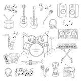 Instrumentos musicales y símbolos Imagen de archivo libre de regalías