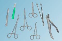 Instrumentos quirúrgicos básicos Fotografía de archivo