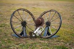 Instrumentos viejos del oeste y de la banda Foto de archivo libre de regalías