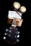 Instruments. A collection of wooden musical instruments Royalty Free Stock Photo