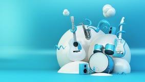 instruments abstraits bleus et blancs illustration stock