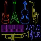 Instruments au néon Photo stock