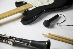 Instruments for a blues band. Portrait of instruments for a blues - jazz band stock photos