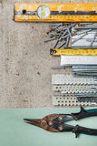 Instruments for build a plasterboard walls Royalty Free Stock Photos