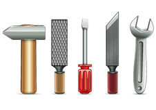 Instruments collection. Set of household instruments on white background Royalty Free Stock Photos