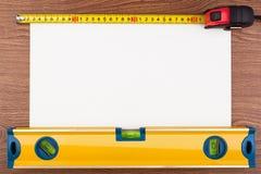 Instruments de mesure et feuille de papier Images libres de droits