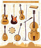 Instruments de musique country de vecteur pour la conception Photos libres de droits