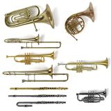 Instruments de musique en laiton Photo libre de droits