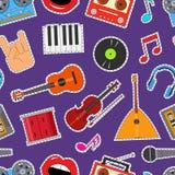 Instruments de musique et fond sans couture de modèle d'équipement Vecteur illustration stock