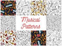 Instruments de musique et milieux de modèle de notes illustration de vecteur