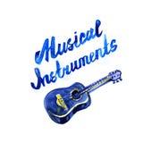 Instruments de musique marquant avec des lettres le concept Illustration d'aquarelle Image stock