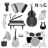 Instruments de musique monochromes de vecteur de collection d'isolement illustration stock