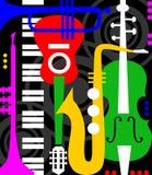 Instruments de musique sur le noir Images libres de droits