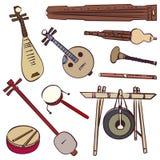 Instruments de musique traditionnels chinois illustration stock