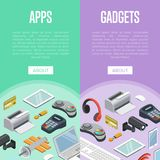 Instruments et affiches isométriques d'apps mobiles illustration stock
