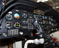 Instruments in a helicopter cockpit. Close-up of some instruments in a helicopter cockpit. focus on pilot stick Stock Image
