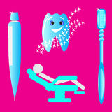 Instruments hygienist and patient dental office Stock Photos