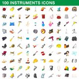 100 instruments icons set, cartoon style. 100 instruments icons set in cartoon style for any design illustration royalty free illustration