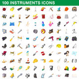 100 instruments icons set, cartoon style Stock Image
