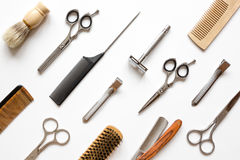 Instruments male hairdresser barbershop top view. On white background Royalty Free Stock Images