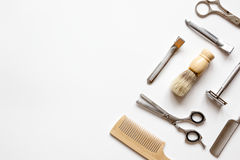 Instruments male hairdresser barbershop top view Stock Photo