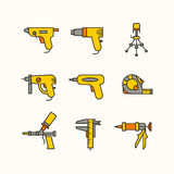 Instruments of masters. The set of the tools for the repair of apartments. Vector line icons Royalty Free Stock Images