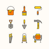 Instruments of masters. The set of the tools for the repair of apartments. Vector line icons Stock Images