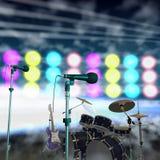Instruments musicaux sur une étape Image stock