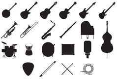 Instruments outlines set Stock Photos