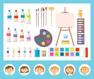 Canvas and Other Tools for Painting, Kid Vector. Instruments for painting and different brushes, canvas and other tools in cartoon style, paint art. Stickers royalty free illustration