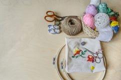 Instruments pour les aiguilles de broderie décoratives Photos stock