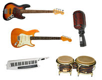 Instruments set. Rock band instruments set collection Stock Photography