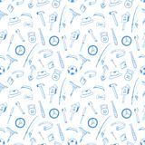 Instruments. Sports equipment seamless pattern. Concept for the Husband, Father Day. Design of wrapping paper, wrappers. Instruments. Sports equipment seamless Stock Images