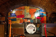 Instruments on the stage of the Cavern Pub, Liverpool, UK Stock Photography