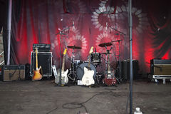 Instruments on  stage ready to rock Royalty Free Stock Image