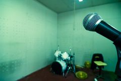 Instruments in studio. Instruments with microphone in studio Stock Images