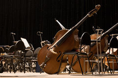 Instruments Symphony Orchestra onstage. Tools symphony orchestra stood on the stage in dark colors stock photo
