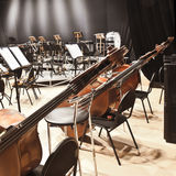 Instruments Symphony Orchestra. Standing on stage Royalty Free Stock Image