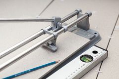 Instruments for tile marking when cutting Stock Photo