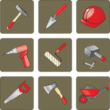 Instruments and tools for the construction and rep Stock Photo
