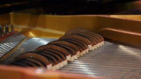 Instrumentu muzycznego abstrakt: pianino i pianino sznurki Bawić się pianino sznurki wzrasta i gdy dekiel otwiera Fotografia Stock