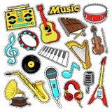 Instrumentu Muzycznego Doodle dla Scrapbook, majchery, łaty, odznaki z gitarą Zdjęcia Stock