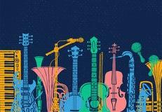 Instrumenty muzyczni, gitara, skrzypki, skrzypce, klarnet, band?o, puzon, tr?bka, saksofon, saksofon R?ka rysuj?ca wektorowa ilus royalty ilustracja