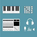 Instrumenty muzyczni ustawiający ikona wektoru ilustracja Muzyczny studio Zdjęcie Royalty Free